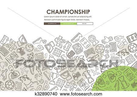 Clipart of football doodle website template design k32890740 football website template design with doodle background maxwellsz