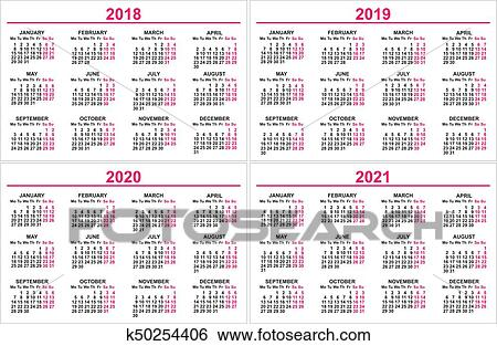 satz wand kalender 2018 2019 2020 2021 gitter clip art k50254406 fotosearch. Black Bedroom Furniture Sets. Home Design Ideas