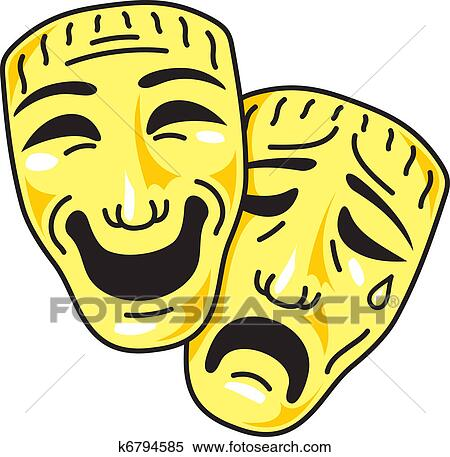 clipart of theatre comedy and tragedy masks k6794585 search clip