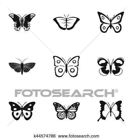 Archivio Illustrazioni Volare Farfalla Icone Set Semplice