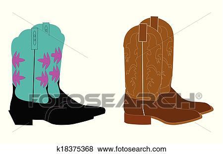 Clip Art - botas de vaquero k18375368 - Buscar Clip Art ... 8962d3a6670