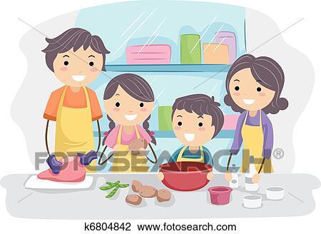 Familie, küche Clipart