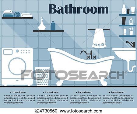 Clipart - flache, blau, badezimmer, innere, mit, langer, schatten ...