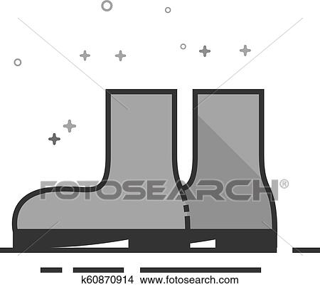 Flat Grayscale Icon , Wet boots Clipart