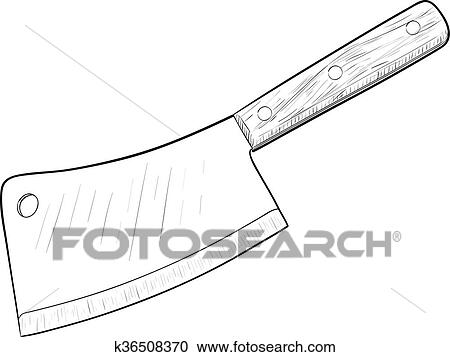 Superbe Kitchen Knife, Hand Drawn, Sketch Style, Isolated On White Background