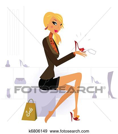 067595ea Pelo rubio, mujer, compra, moda, rojo, zapato, en, tienda Clip Art ...