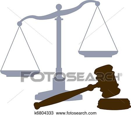 Clipart Of Scales Gavel Legal Justice Court System Symbols K6804333