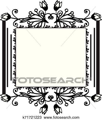 Vintage Border Flower Frame For Ornament Invitation Card