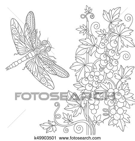 Zentangle stylized dragonfly and grape vine Clipart