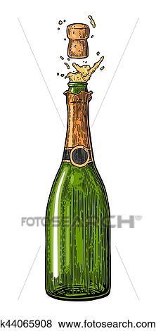 Bouteille De Champagne Dessin bouteille champagne, explosion. clipart k44065908
