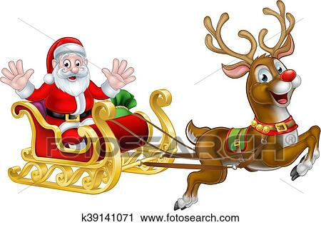 christmas santa and reindeer sleigh clipart k39141071 fotosearch https www fotosearch com csp681 k39141071