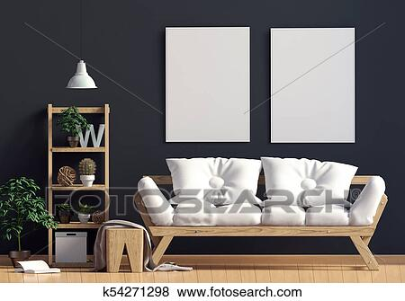 Contrasting modern interior Scandinavian style, consisting of a shelf with  plants and decor, sofa and the poster in the background dark wall. poster  ...
