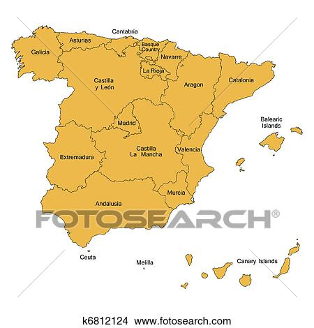 Map 24 Spain.Detailed Map Of Spain Stock Illustration