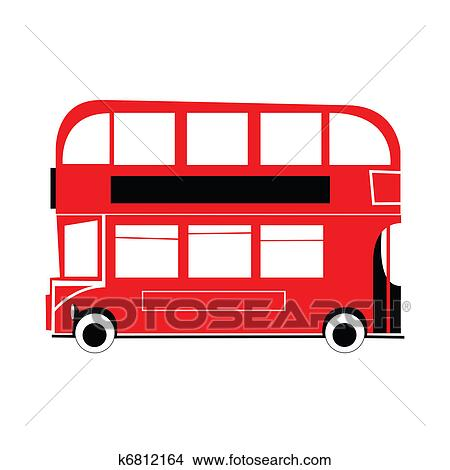 drawings of double decker bus k6812164 search clip art rh fotosearch com double decker bus clipart free Double-Decker Bus Coloring Page