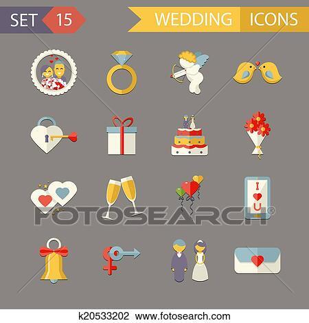 Clipart Of Flat Wedding Symbols Bride Groom Marriage Accessories