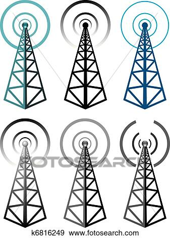 Clip Art of vector set of radio tower symbols k6816249 - Search ...