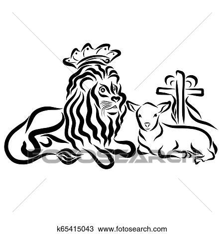 Leao Em Um Coroa E Um Cordeiro Com Um Crucifixos E Um