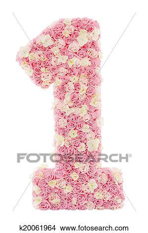 Numero 1 Floreale Uno Da Rose Fiori Rosa Petal Isolato