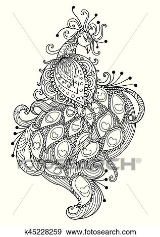 Clip Art Pfau Für Ausmalbilder Seite K45228259 Suche Clipart