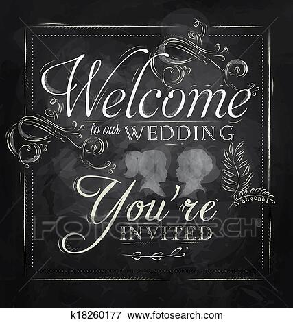 5b3290de06092 Poster Welcome to our wedding chalk Stock Illustration