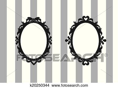 Clipart of Ribbon and Heart Oval Frames Set k20250344 - Search Clip ...