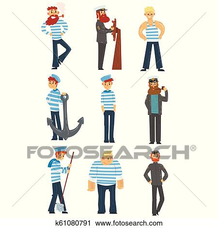 Schiffskapitän trägt uniform im hafen | Premium-Vektor