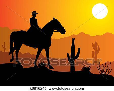 Uomo su il cavallo in deserto clipart k6816245 fotosearch