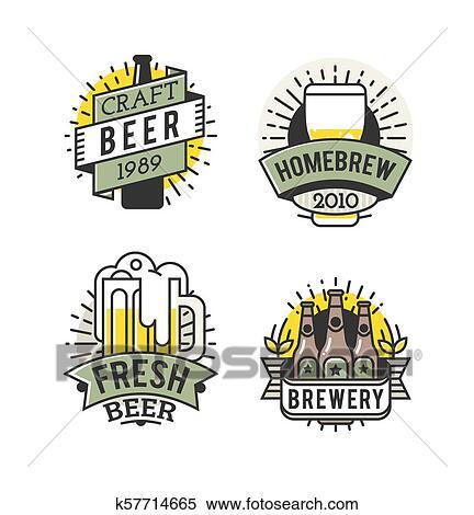 Vetorial Linha Arte Badge Arte Cerveja Logo Vindima