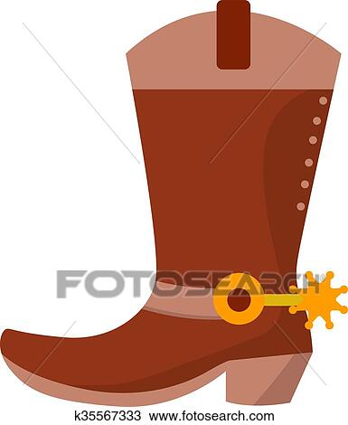6bc945a8e40 Wild west leather cowboy boot with spurs and stars. Vector clip art  illustration isolated on white Clipart