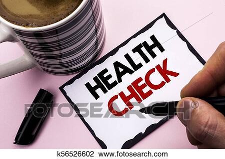 Écriture, texte, écriture, santé, check., concept..