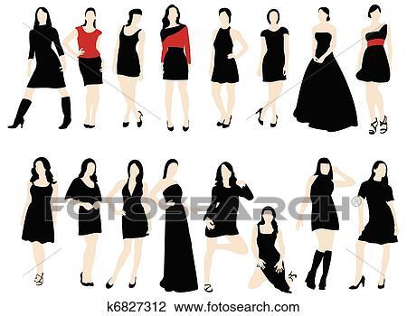 女, ファッション クリップアート(切り張り)イラスト「絵画」集