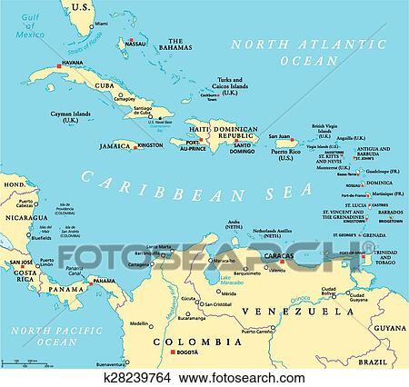 Clipart of Caribbean Political Map k28239764 - Search Clip Art ...