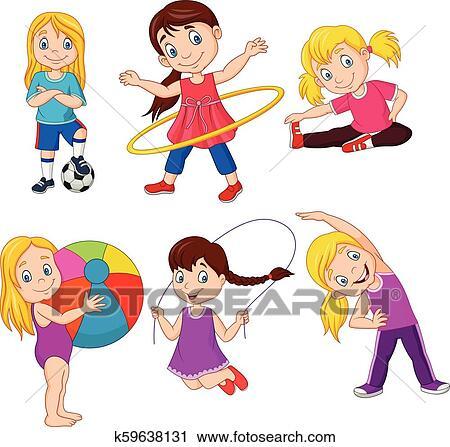 Cartoon Little Girls With Different Hobbies Clipart K59638131 Fotosearch
