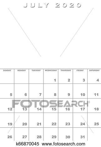 July 2020 calendar template Stock Illustration