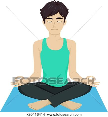 clipart of male teen yoga k20416414 search clip art illustration rh fotosearch com yoga clipart png yoga clip art pictures