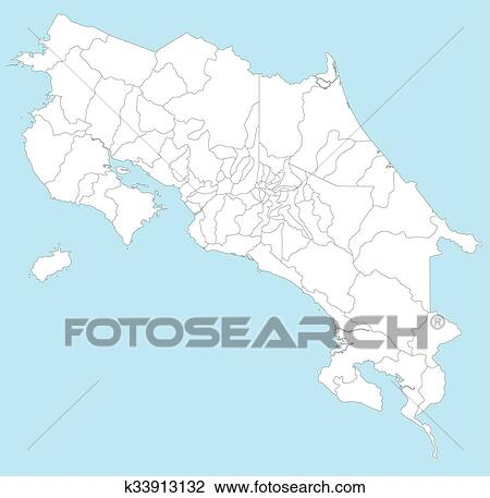Map of Costa Rica Clipart