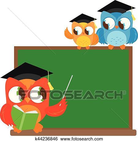clip art of owl teacher and little students at classroom k44236846 rh fotosearch com Owl Clip Art Schedule Owl Graphics for Teachers
