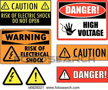 safety electrical signs clipart