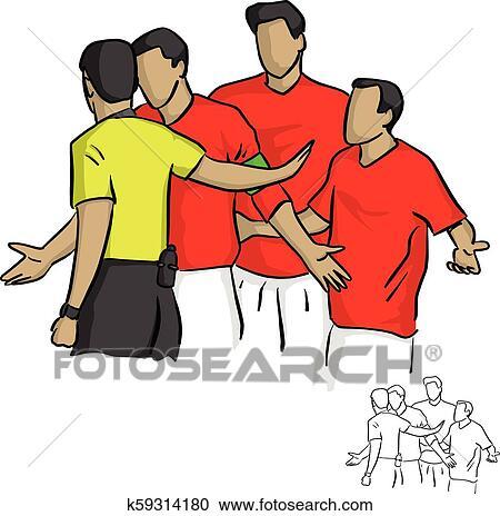 Schiedsrichter In Gelbes Hemd Warnung Fussball Spieler