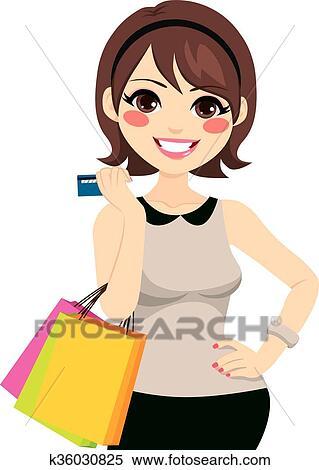 da693339545b Bello, giovane, brunetta, shopping donna, con, carta credito, presa a  terra, borse da spesa, e, proposta, con, mano anca