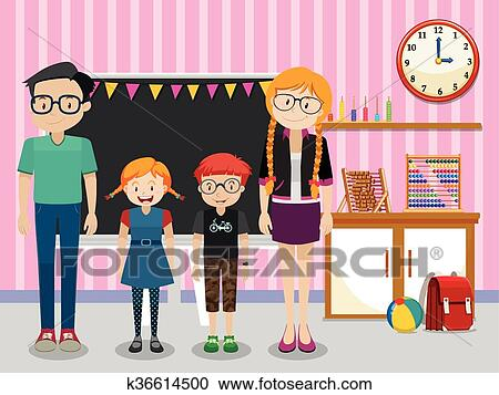 Teachers And Students In The Classroom Clipart K36614500 Fotosearch