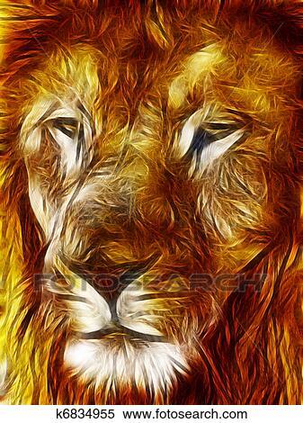 クローズアップ 映像 イラスト の 大きい ライオン 顔 イラスト