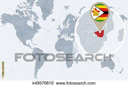Abstract blue world map with magnified Zimbabwe. Clipart ...