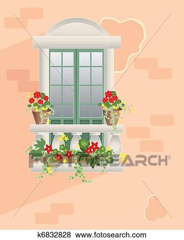 Clip Art Blume Balkon K6832828 Suche Clipart Poster