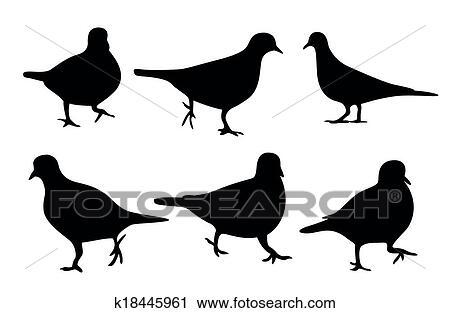 Dove silhouette, vector Clipart