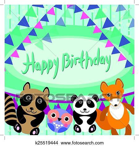 Clipart Of Funny Animals Owl Fox Raccoon Panda Happy Birthday