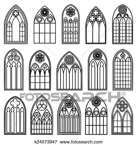 Clip Art of Gothic Window Silhouettes k24573947 - Search Clipart ...