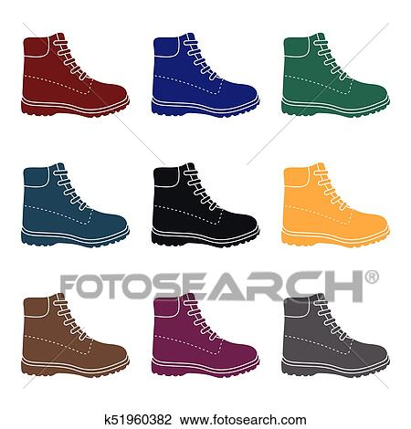 Hiking Boots Icon In Black Style Isolated On White Background Shoes