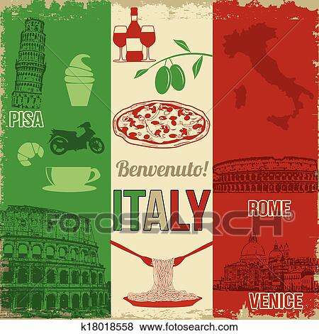 Italy Travel Grunge Seamless Pattern With National Italian Food Sights Map And Flag