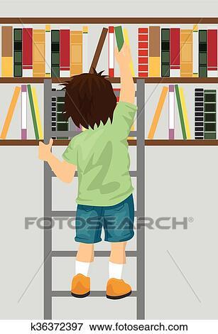 Jeune Garcon Prendre Livre Depuis Etagere A Echelle Dans Bibliotheque Clipart